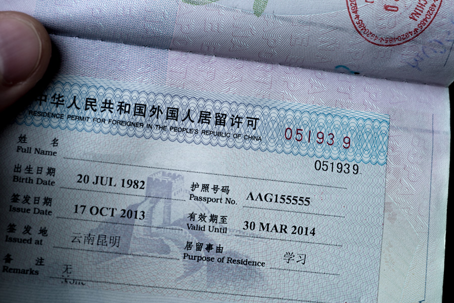 Residence permit in China
